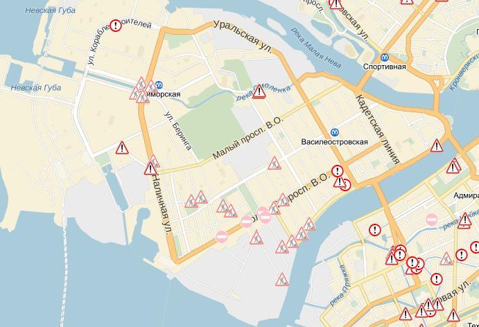 Схема перекрытия дорог на В.О.